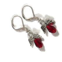Red Swarovski Crystal handmade angel earrings, ... - $9.99