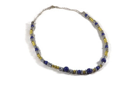 Blue and gold handmade necklace, blue and yello... - $12.99