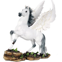 Pegasus with Feathered Wings Divine Stallion Fantasy Collectible Figurin... - $52.00