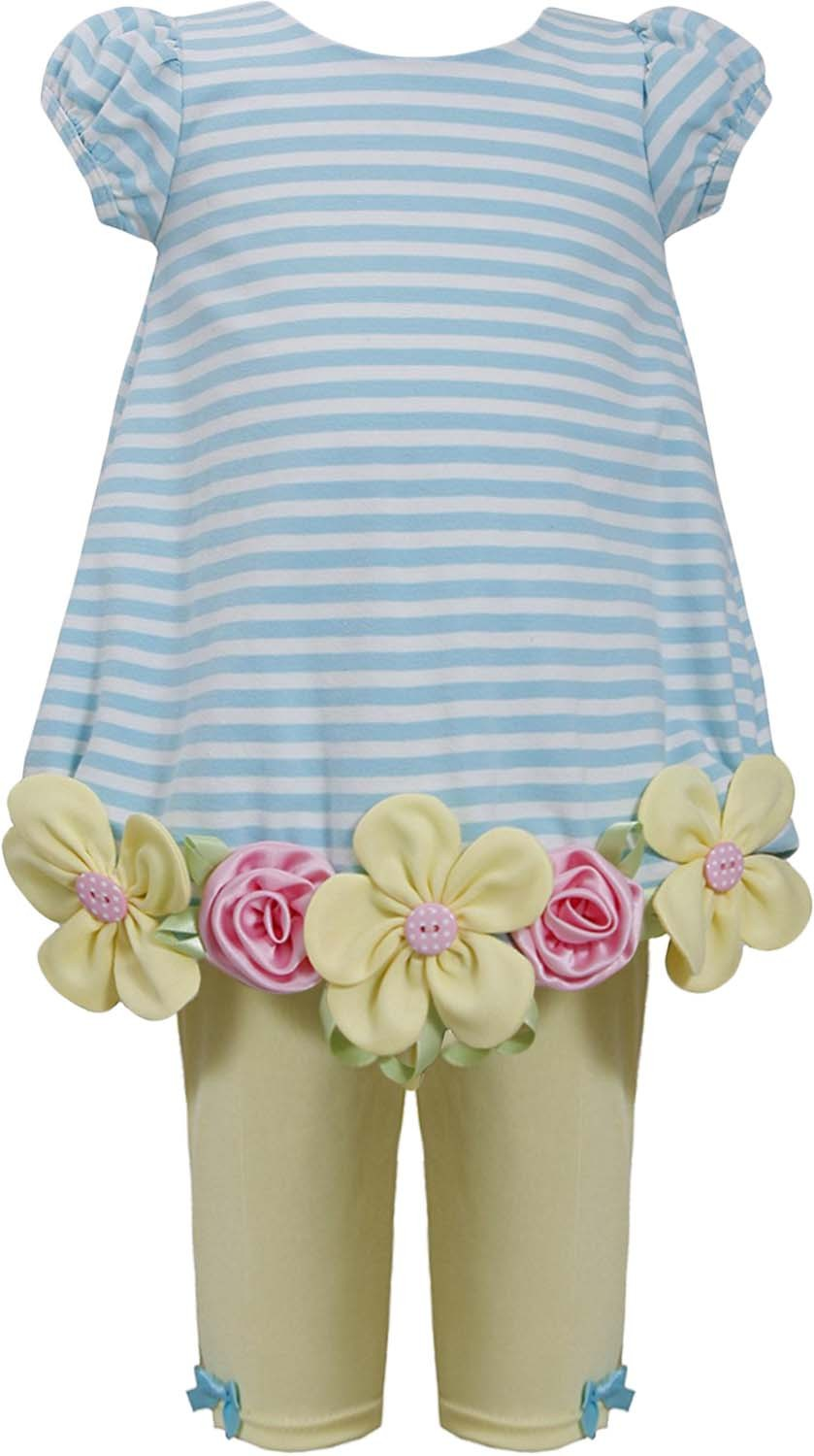 Little Girl 2T-6X Striped Flower Border Bubble Dress/Legging Set, Bonnie Jean
