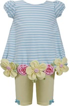 Baby Girls 3M-24M Striped Flower Border Bubble Dress/Legging Set, Bonnie Jean