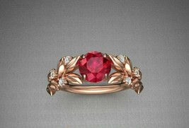 1.00 Ct Round Red Ruby Engagement Flower Rose Ring 14k Rose Gold Finish - $97.48