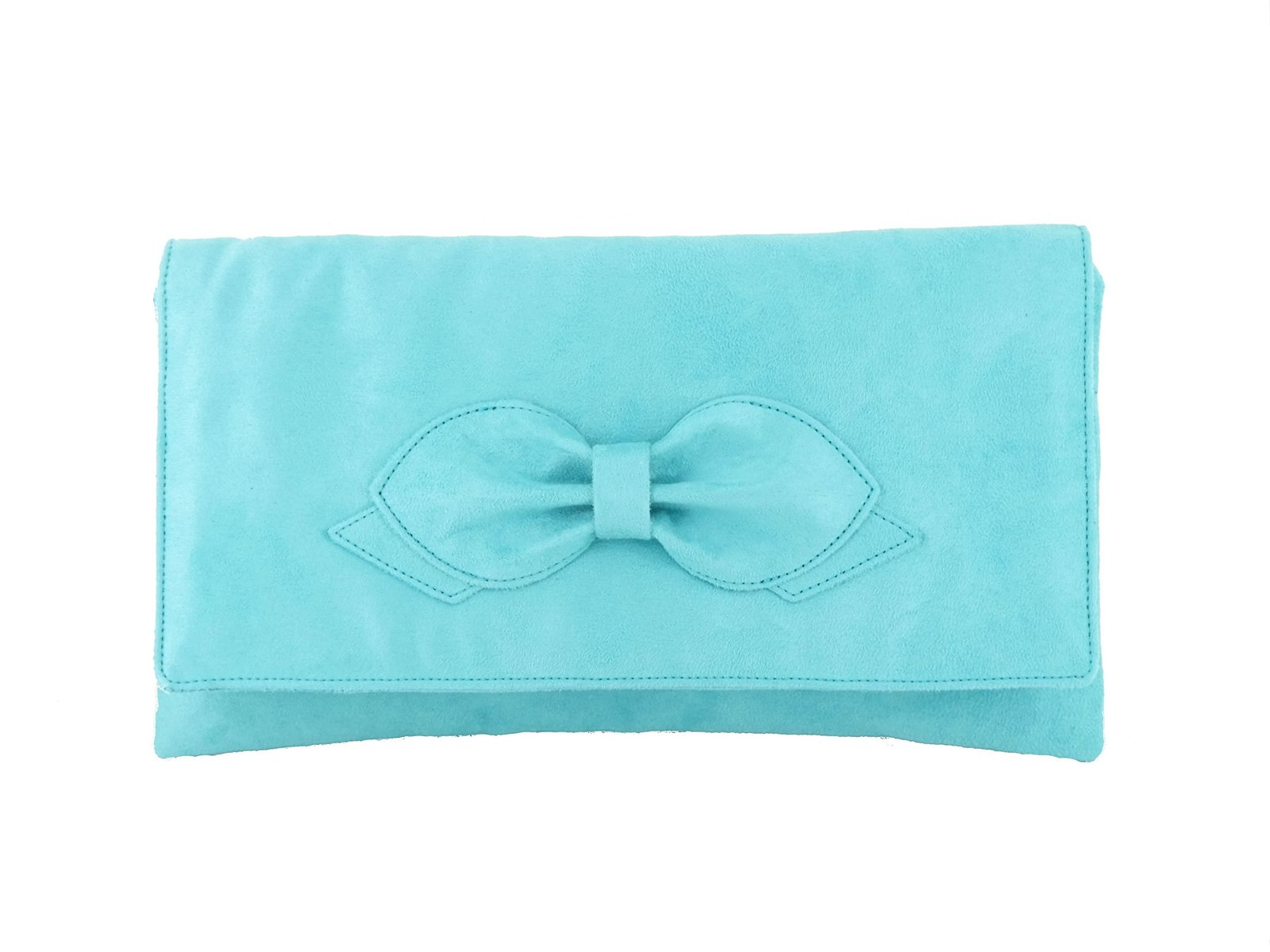 LONI Women's synthetic Suede Bow Clutch Bag Prom Medium Light Turquoise