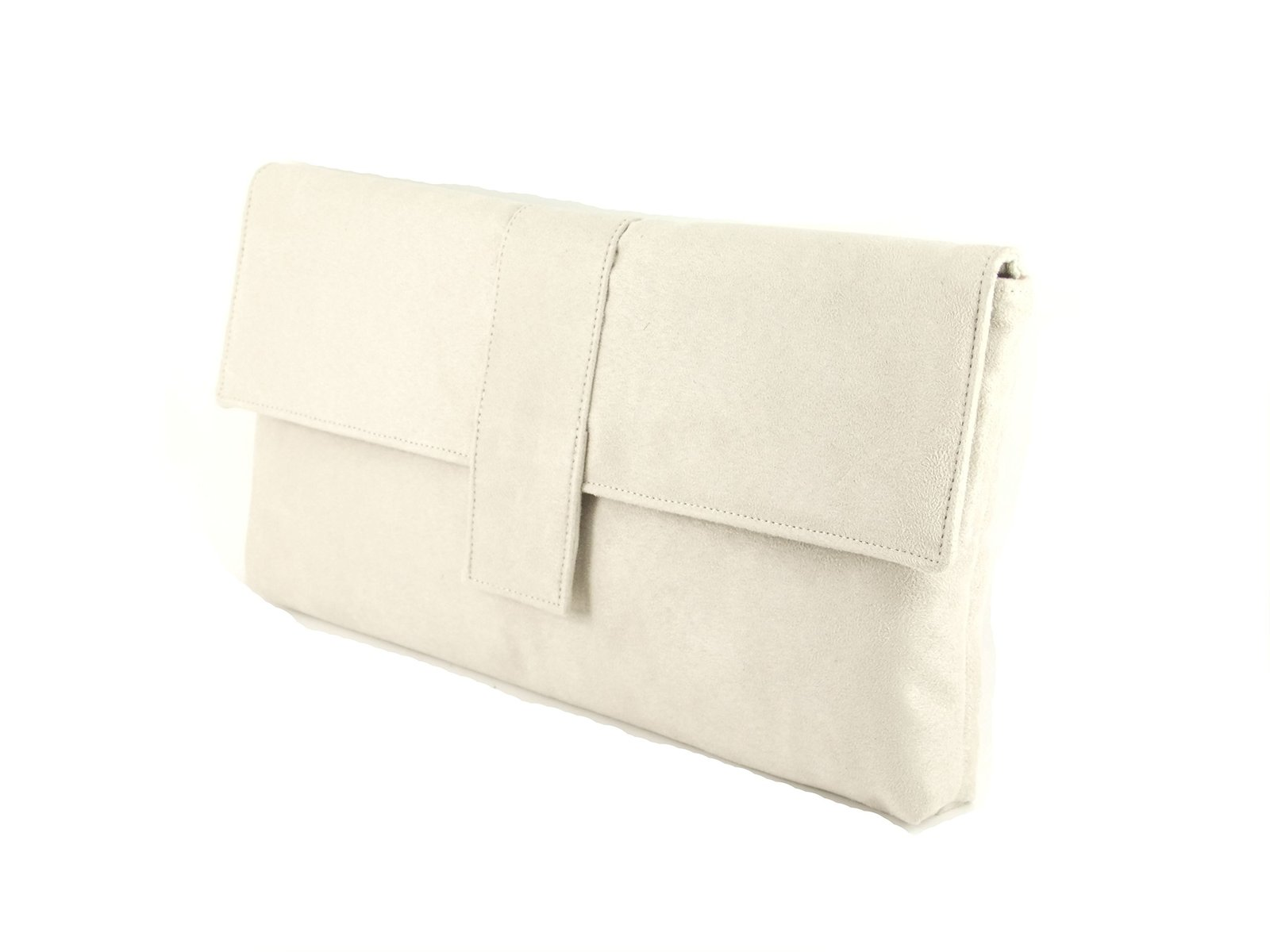 LONI Women's Synthetic Clutch Bag Suede Leather Large Ivory Cream