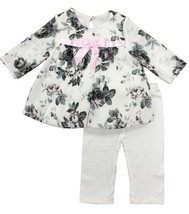 Baby Girls 3M-24M Rose Print Brush Knit Bubble Dress/Legging Set, Bonnie Jean