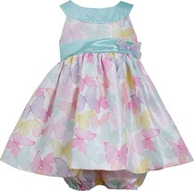 Baby Girls 3M-24M Mint-Green U-Neck Butterfly Shantung Dress, Bonnie Jean