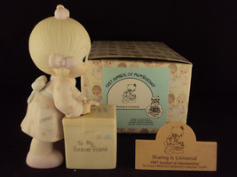 Precious Moments, E-0007, Sharing Is Universal, Olive Branch, 1987 Membership - $24.95