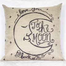 I Love You to the Moon Cotton Linen Throw Pillow Cases Cushion Covers - $13.84