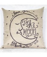 I Love You to the Moon Cotton Linen Throw Pillow Cases Cushion Covers - ₨899.73 INR