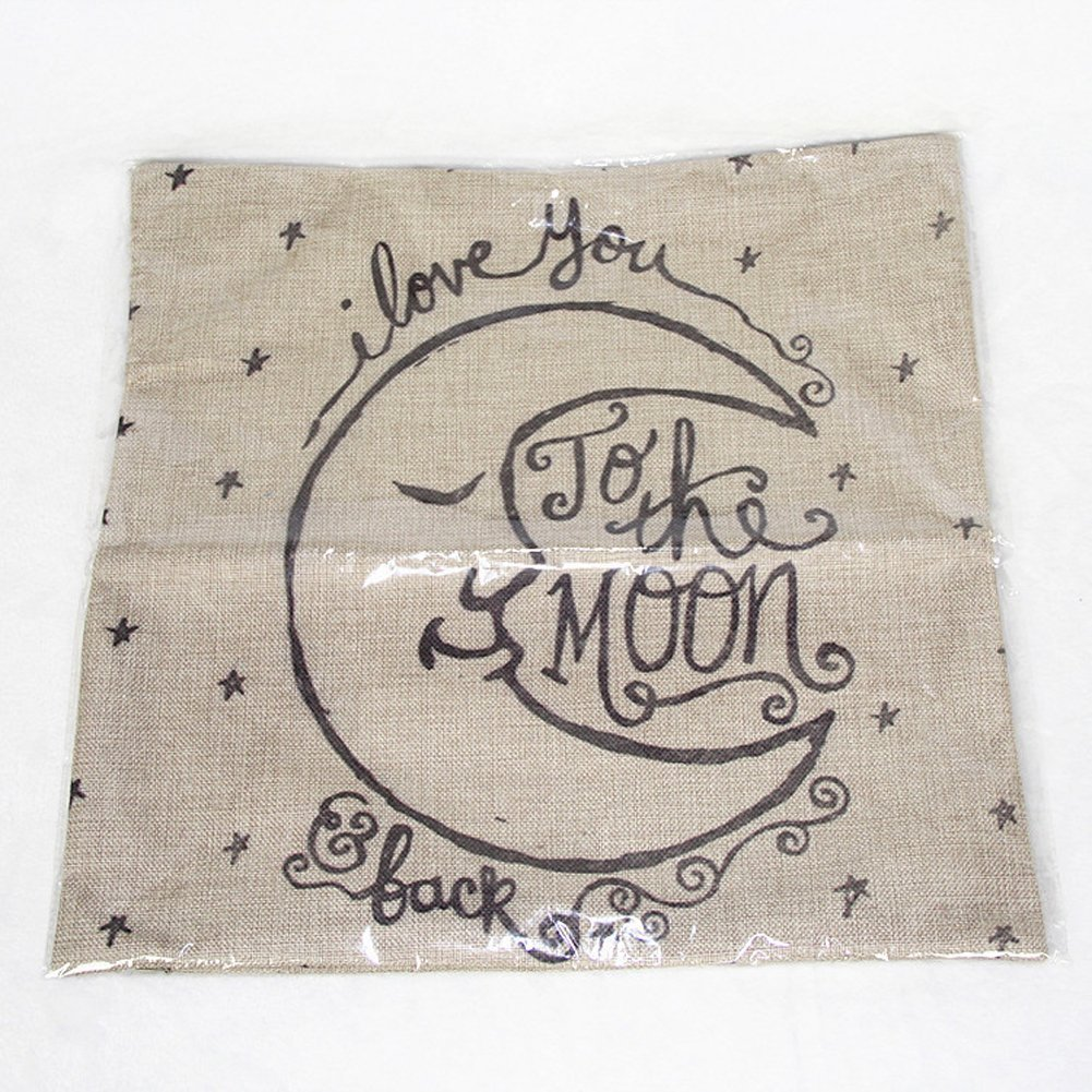 I Love You to the Moon Cotton Linen Throw Pillow Cases Cushion Covers