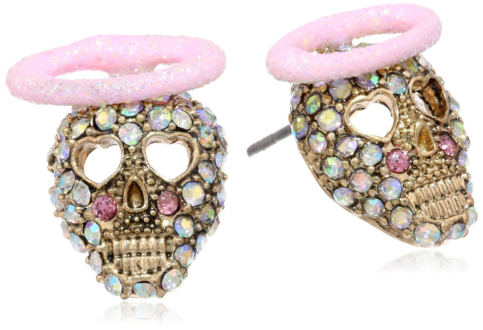 "Betsey Johnson ""Angel Devil"" Angel Skull Stud Earrings"