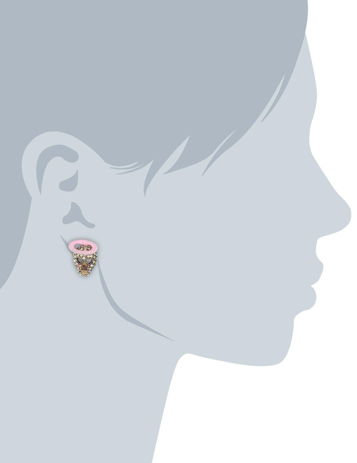 """Betsey Johnson """"Angel Devil"""" Angel Skull Stud Earrings"""