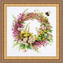 Cross Stitch Kit Riolis Wreath with Fireweed - $34.00