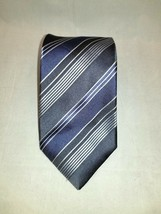 Kenneth Cole Blue Grey Silver Striped 100% Silk Classic Men's Tie / Necktie  - $14.95
