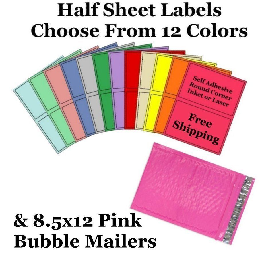 8.5x12 Pink Poly Bubble Mailers + 8.5x5 Half Sheet Self Adhesive Shipping Labels