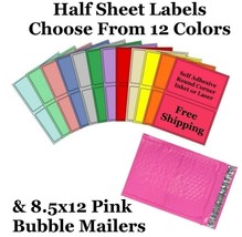 8.5x12 Pink Poly Bubble Mailers + 8.5x5 Half Sheet Self Adhesive Shippin... - $2.99+