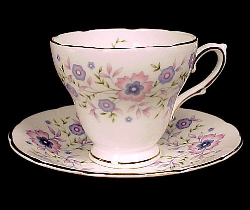 69299a fine bone china pink blue floral cup   saucer 1974 avon