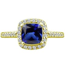 2.98 tcw Cushion cr Sapphire & Round Diamond Ring Ladies Solid 14k Yello... - £292.00 GBP
