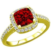 2.97 tcw Cushion cr Ruby & Round Diamond Ring Ladies Solid 10k Yellow Gold - £251.82 GBP