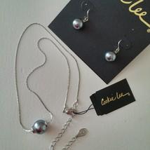 "Glass Pearl Earring Necklace Set Gray Pewter Choker Dangle Dainty 19"" - $15.79"