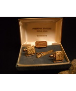 Krementz Cuff Links Tie Bar Square Amber 14 Kt Gold Overlay in Presentation Box - $24.99