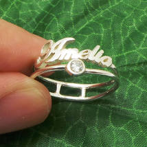 Handmade 925 Sterling Silver Personalized Name Cubic Zirconia Ring - $52.00