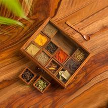 """""""Twelve Blends"""" Spice Box with 12 Containers & Spoon in Sheesham Wood - ... - $47.94"""