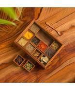 """Twelve Blends"" Spice Box with 12 Containers & Spoon in Sheesham Wood - ... - £34.65 GBP"
