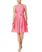 Tommy Hilfiger Illusion-Striped Fit & Flare Dress Blush Size 16 - $47.49