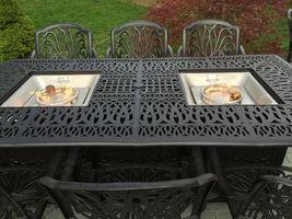 Fire pit dining table Cast Aluminum Propane Double Burner 9 Piece Outdoor Set image 3