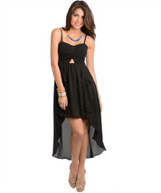 Sexy Hi-Lo Party Ruffled Maxi Cocktail Club Cruise Dress, Fuchsia or Black - $32.99