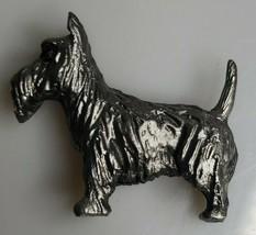 VTG SOLID PEWTER SCOTTIE DOG SCOTTISH TERRIER MINIATURE SCULPTURE PAPERW... - $15.95
