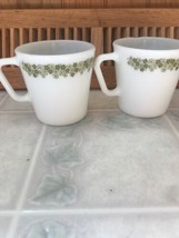 Lot 2 Vintage Pyrex #1410 Crazy Daisy Mugs Green Floral Milk Glass Coffee Cups - $19.59