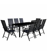 vidaXL Outdoor Dining Set Table and Chairs 9 Piece Aluminum Folding Recl... - $374.99