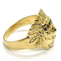 SOLID 18K YELLOW GOLD RING AMERICAN INDIAN WITH FEATHER HAT, ZIRCONIA ITALY MADE image 2