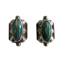 Vintage Mexican Silver & Green Onyx  Screw Back Earrings - $32.00