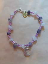 Amethyst and Rose Quartz Moon Bracelet - $5.90