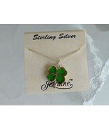 Vintage Jezlaine 4 Leaf Clover Shamrock Sterling Silver Pendant Necklace... - $19.79