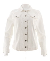 Women with Control Woven Twill Long Slv Button Front Jacket White 3X NEW... - $35.62