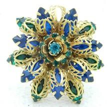Vintage Gold Tone Filigree Green Blue Rhinestone Flower Converted Pendant - $29.70