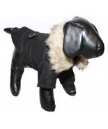 Buttoned 'Coast-Guard' Fashion Faux-Fur Collared Wool Pet Coat- Black/Brown - $29.99
