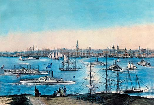 New York Harbor View by Nathaniel Currier - Art Print - $19.99 - $179.99