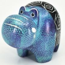 Crafts Caravan Soapstone Purple & Blue Hippopotamus Hippo Figurine Made Kenya image 2