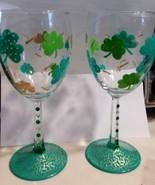 Lucky Shamrock Wine Glass Set Barware Wine Gifts Glass Painted Wine Glasses - $14.00