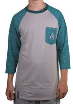 LRG Mens Dark Teal Asphalt Grey Colors Of Season Baseball Raglan T-Shirt NWT