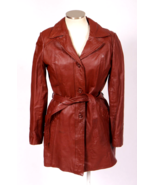 Vtg 1980s Red Leather Jacket Trench Coat Retro Burgundy Faux Fur Lined W... - $29.69