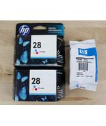 Lot Of 3 Genuine HP 28 Tri-Color Ink Cartridges C8728AN OEM - $13.99
