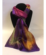 Hand Painted Silk Scarf Pink Gold Green Purple Women Unique Oblong Head ... - $56.00