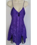Victorias Secret Small Slip Nightie Purple Black Floral Vintage VS Gold ... - $19.99