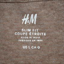 H&M Men's Slim Fit Heathered Brown Crew Neck T-Shirt Size L image 3